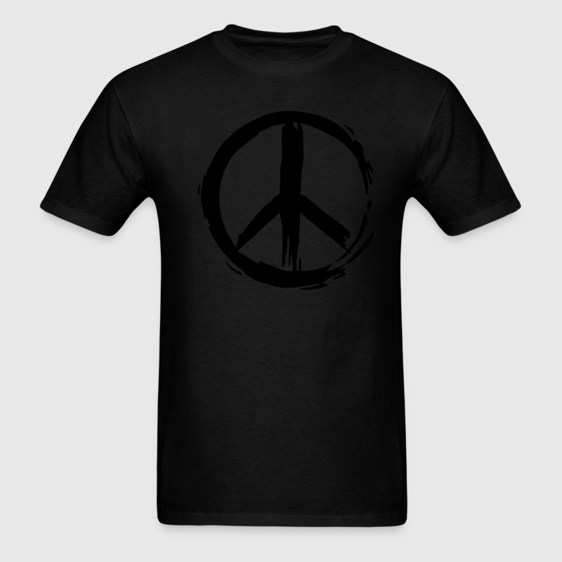 Black Painted Peace Symbol Men - Men's T-Shirt