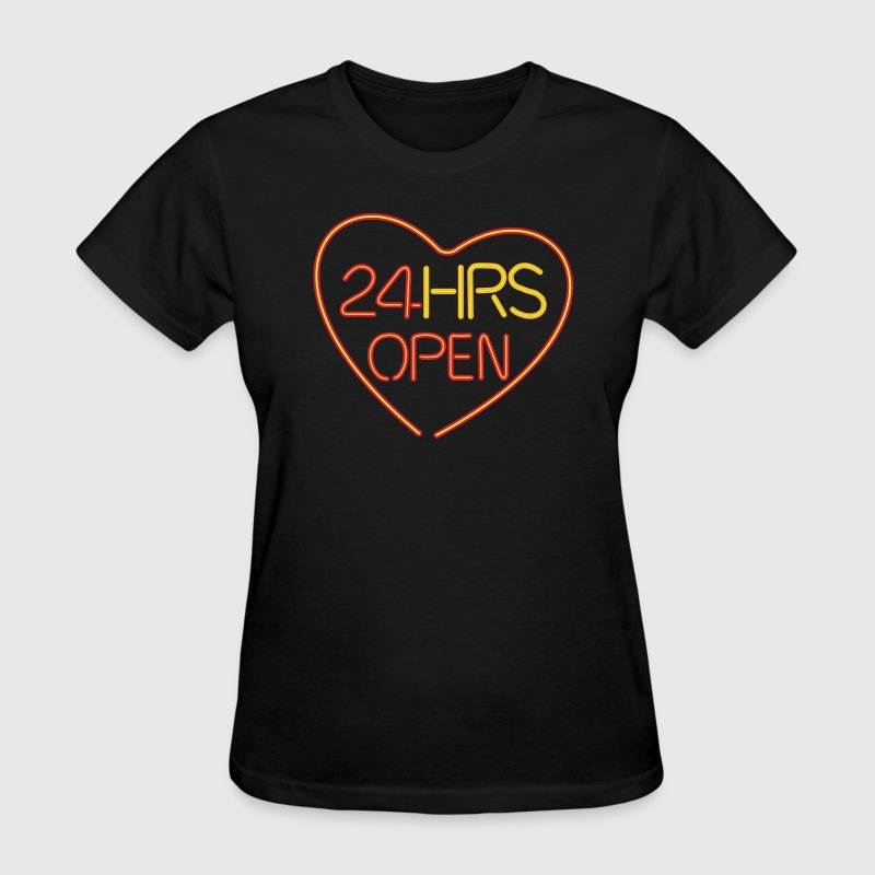 neon sign: 24 hrs open heart - Women's T-Shirt