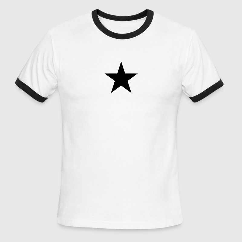 White/black Star (simple) T-Shirts - Men's Ringer T-Shirt
