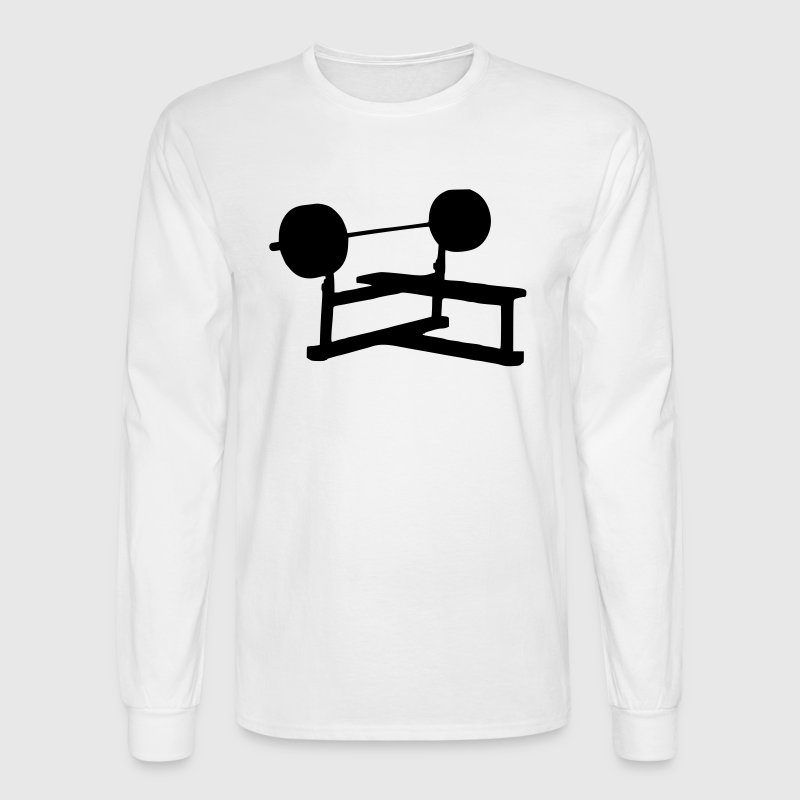 White Weight Bench - Fitness - Gym - Power Men - Men's Long Sleeve T-Shirt