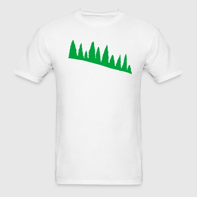 White Green Pine Tree Line Men - Men's T-Shirt
