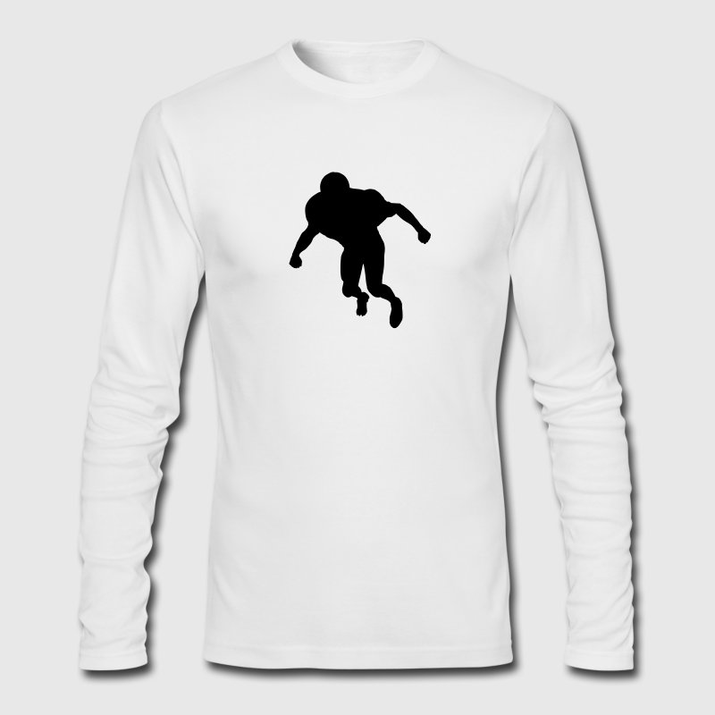 White football linebacker silhouette T-Shirts (Long sleeve) - Men's Long Sleeve T-Shirt by Next Level