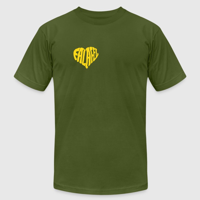 Olive Falafel Love Heart T-Shirts (Short sleeve) - Men's T-Shirt by American Apparel