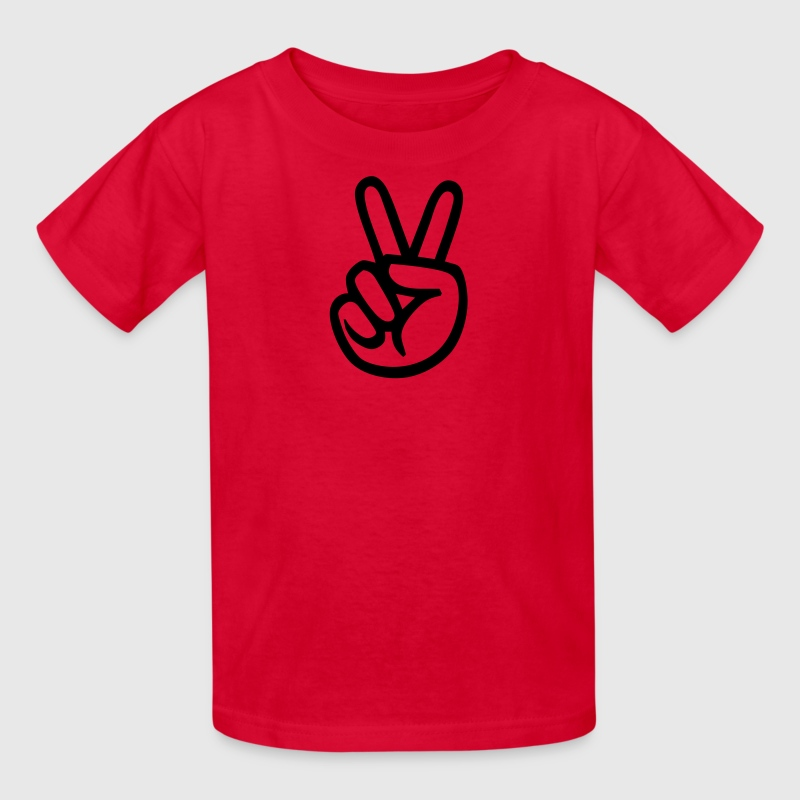 Red peace sign hand Kids Shirts - Kids' T-Shirt