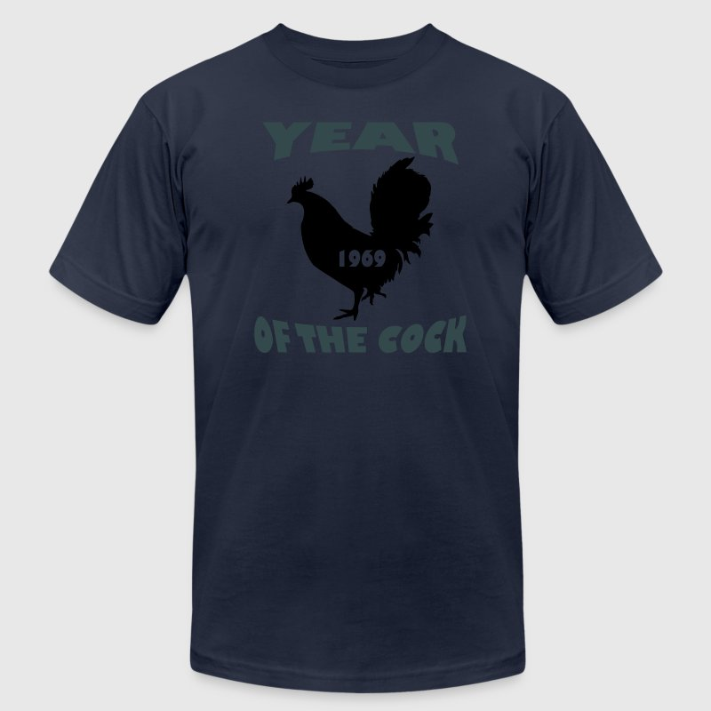 Navy Year of the Cock 1969 T-Shirts (Short sleeve) - Men's T-Shirt by American Apparel