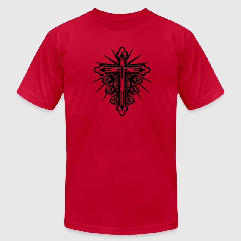 Red Ornate Cross with Roses 1 Color T-Shirts (Short sleeve) - Men's T-Shirt by American Apparel