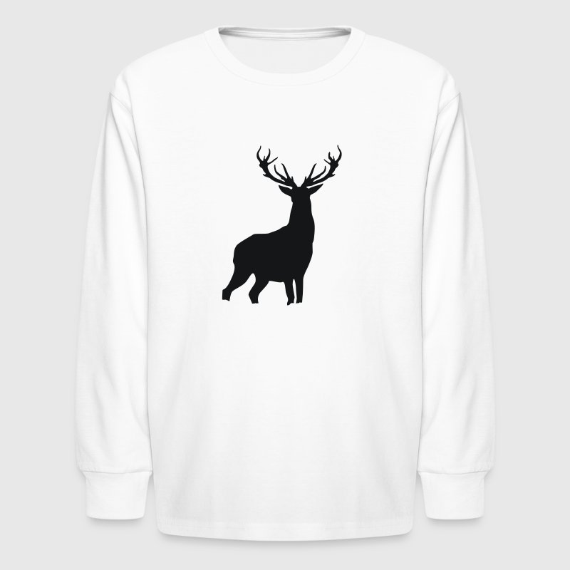 White Deer with antlers Kids Shirts - Kids' Long Sleeve T-Shirt