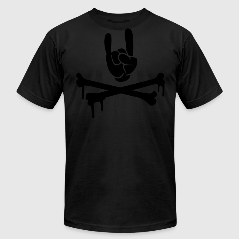 Black rocking hand T-Shirts (Short sleeve) - Men's T-Shirt by American Apparel