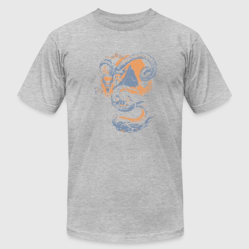 Heather grey Cool Vintage Chinese Dragon Graphic T-Shirts - Men's T-Shirt by American Apparel