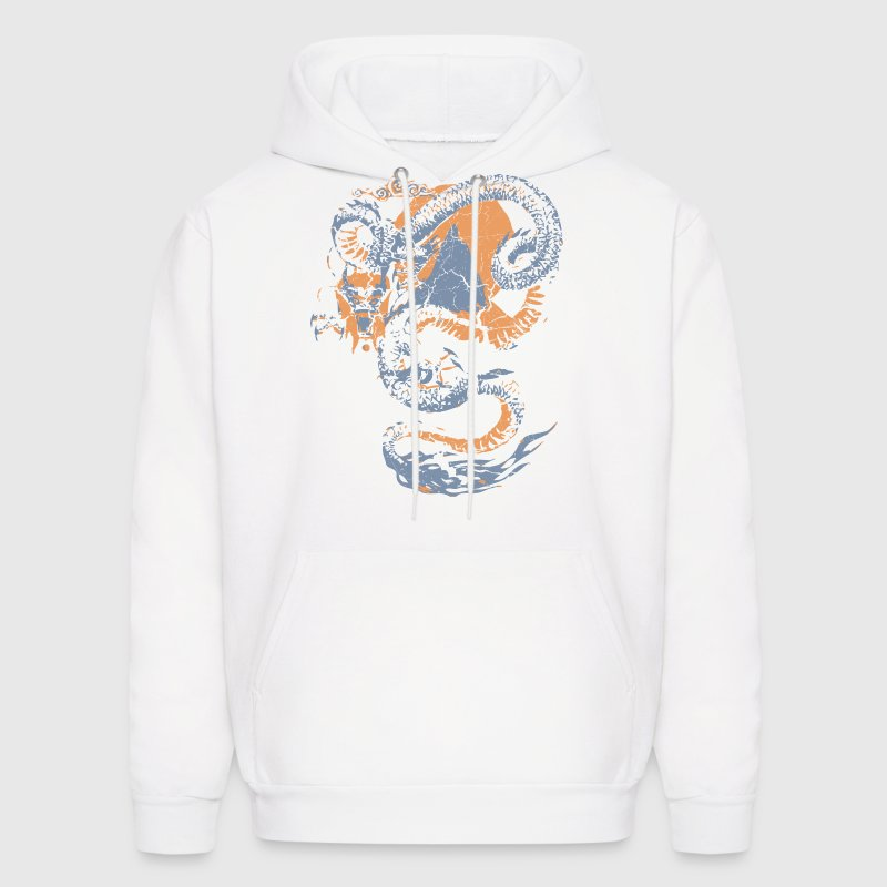 White Cool Vintage Chinese Dragon Graphic Hoodies - Men's Hoodie