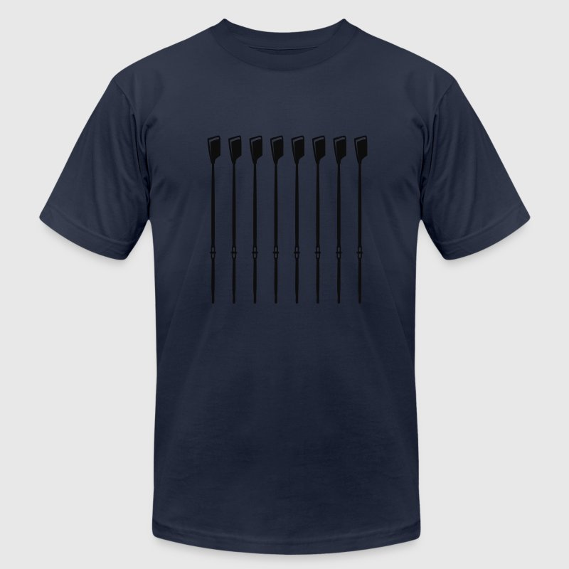 Navy Crew Oars for Varsity 8 Rowers T-Shirts - Men's T-Shirt by American Apparel