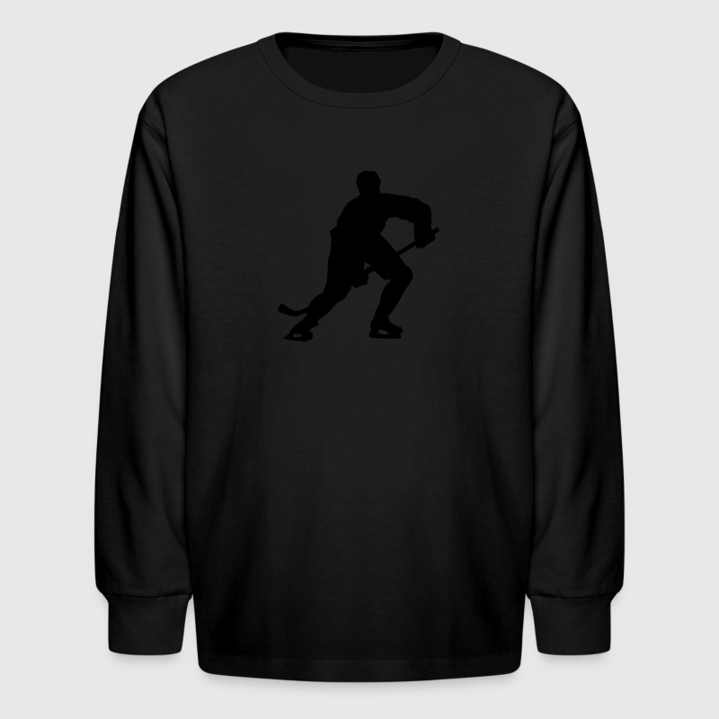Red hockey silhouette Kids Shirts - Kids' Long Sleeve T-Shirt