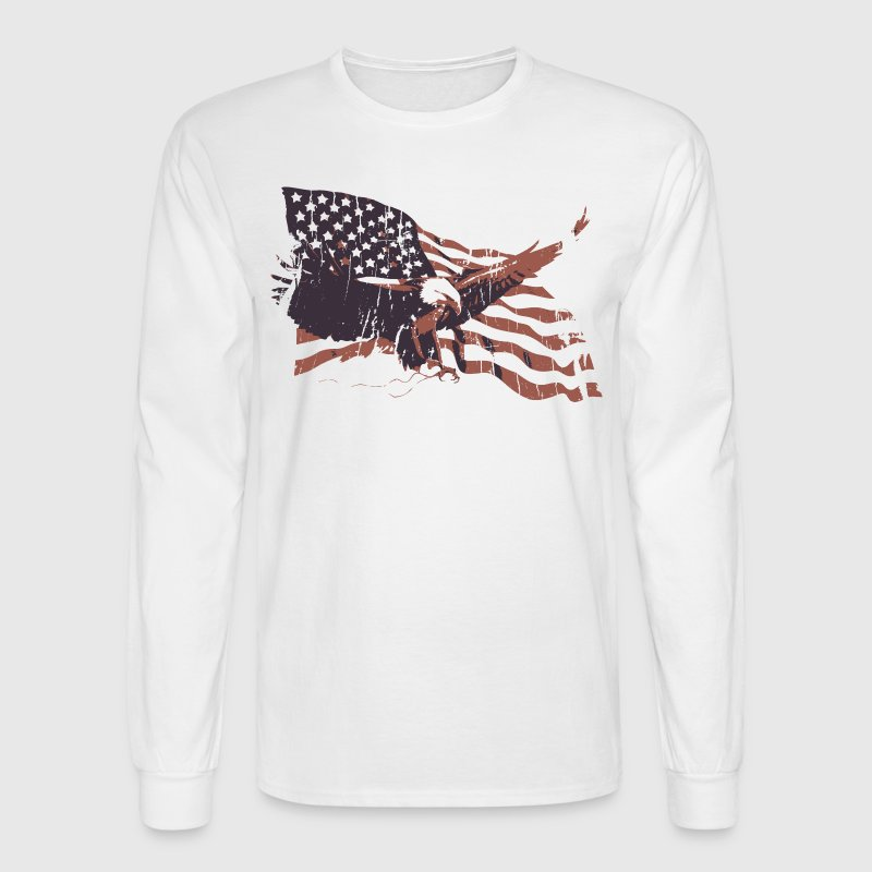 White Vintage American Flag bald eagle Long sleeve shirts - Men's Long Sleeve T-Shirt
