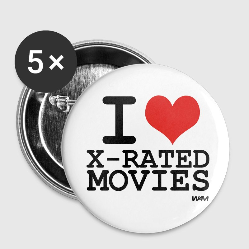 White i love xmovies by wam Buttons - Large Buttons