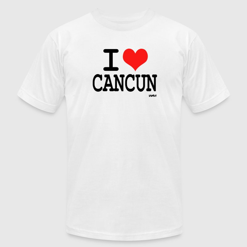 White i love cancun by wam T-Shirts - Men's T-Shirt by American Apparel