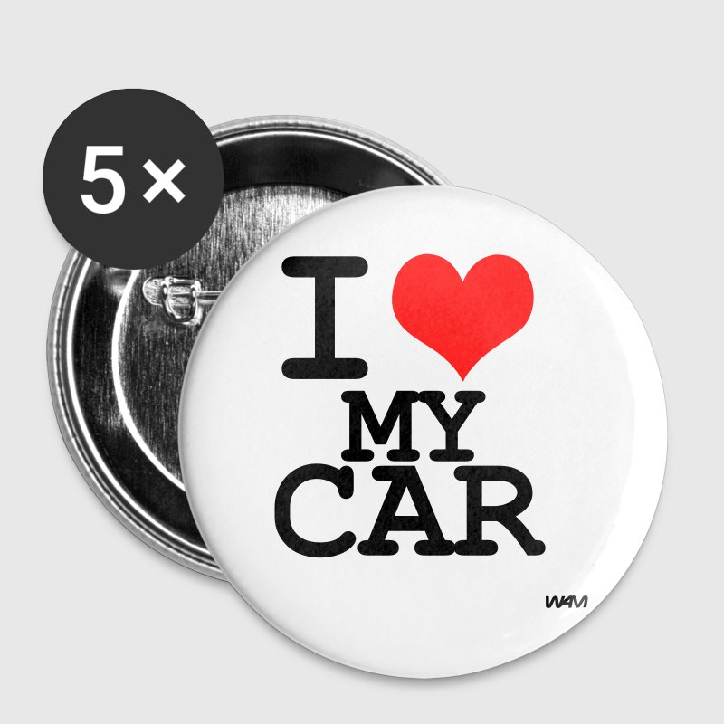 White i love my car by wam Buttons - Large Buttons