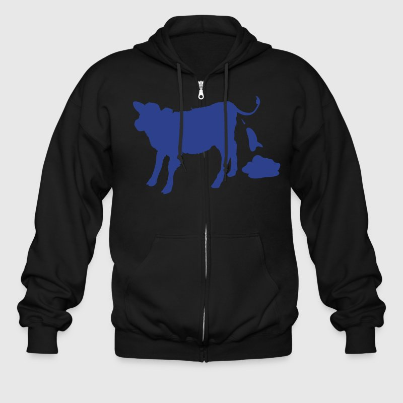 Ash  cow pooping Zippered Jackets - Men's Zip Hoodie