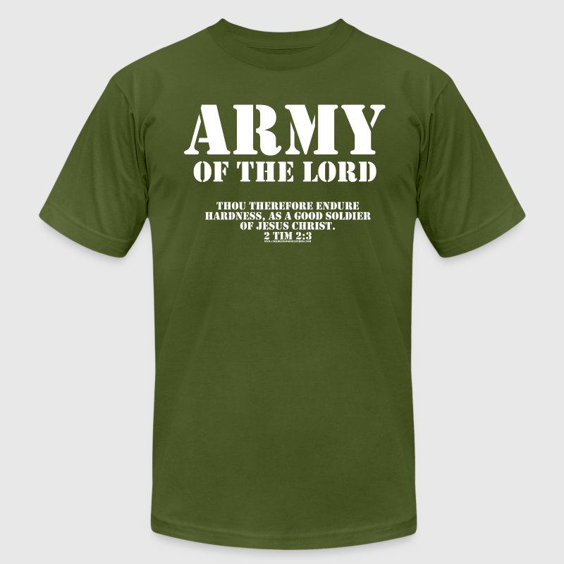Olive Army of the Lord, Christian T-Shirts with Bi - Men's Fine Jersey T-Shirt