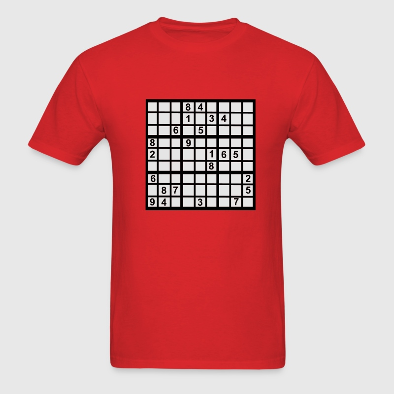 Red Sudoku - Brainteaser T-Shirts - Men's T-Shirt