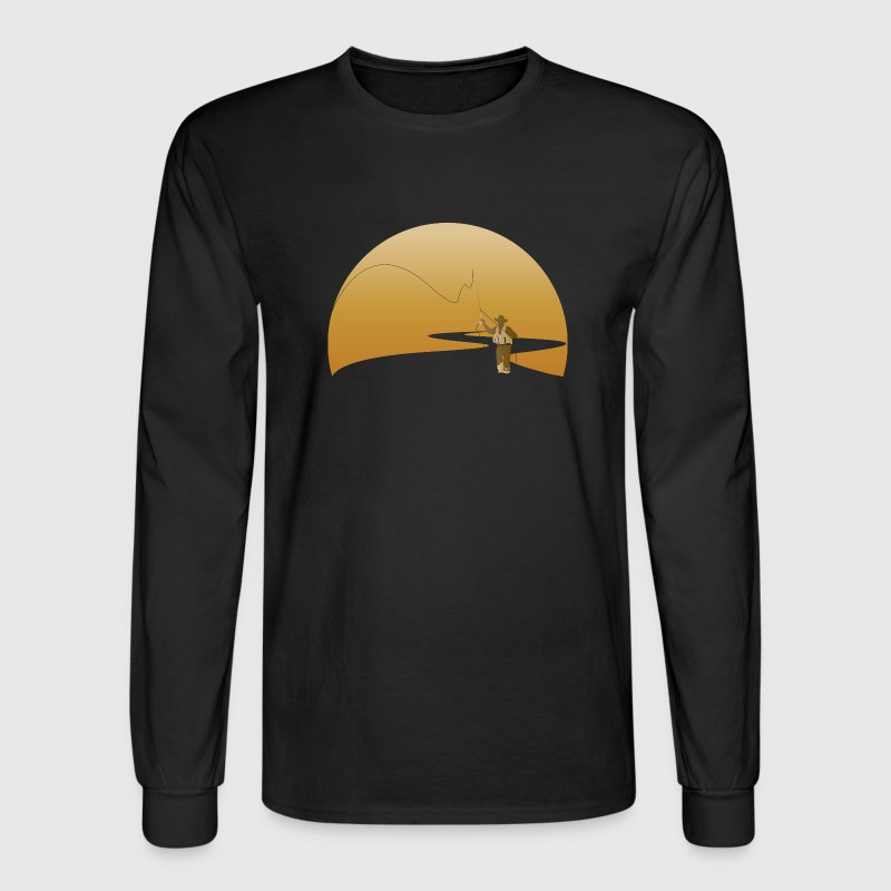 Black fly fishing fisherman Long sleeve shirts - Men's Long Sleeve T-Shirt