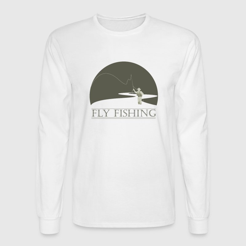 White fly fisherman 1 fly fishing design Long sleeve shirts - Men's Long Sleeve T-Shirt