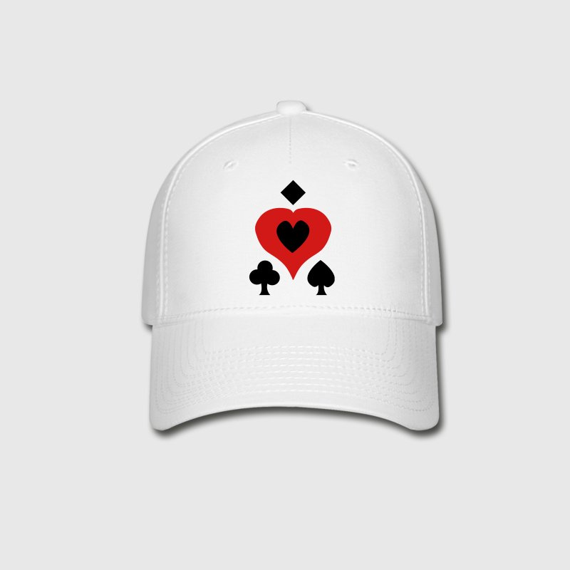 White Playing Card Shapes Caps - Baseball Cap