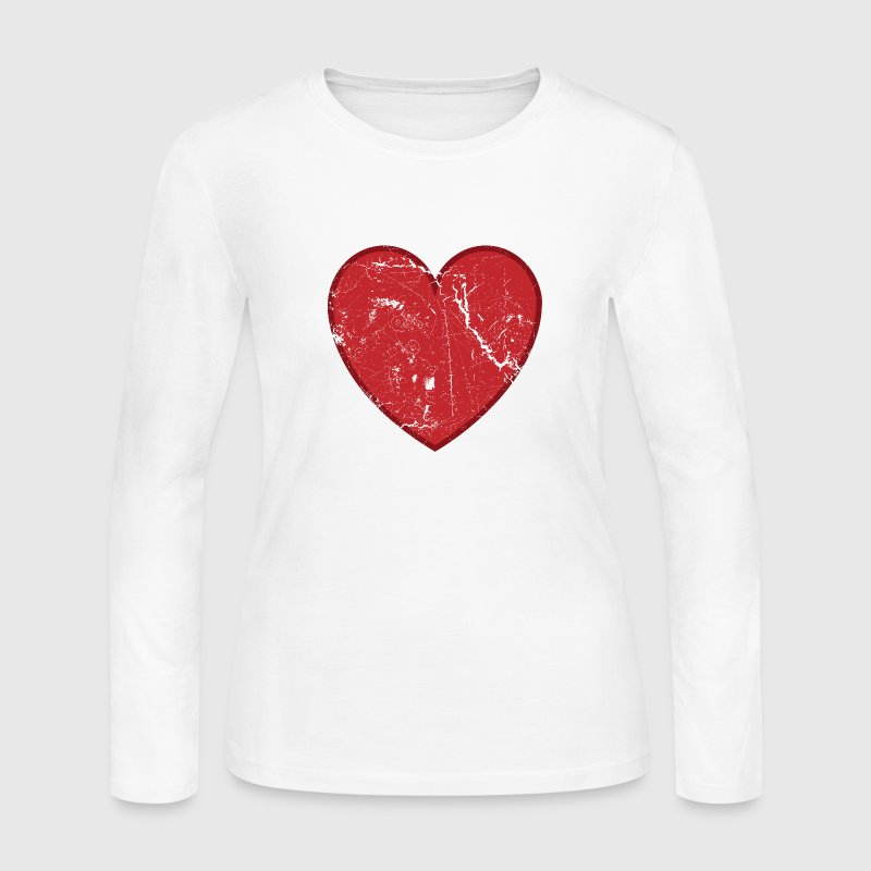 White Cool Valentine Vintage Heart Long sleeve shirts - Women's Long Sleeve Jersey T-Shirt