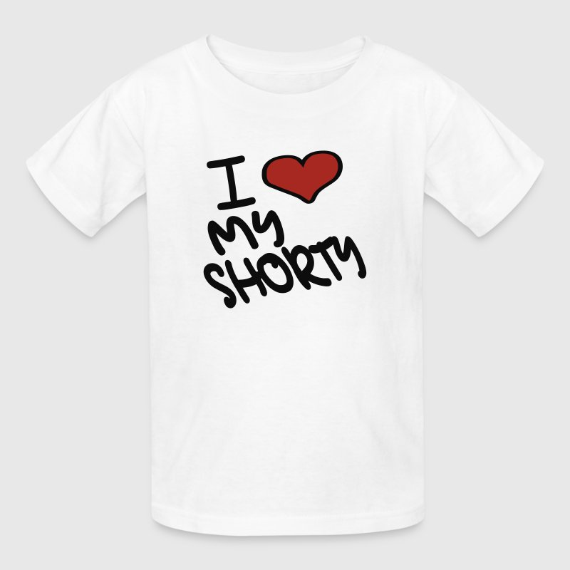 White I Heart My Shorty With Heart Kids Shirts - Kids' T-Shirt