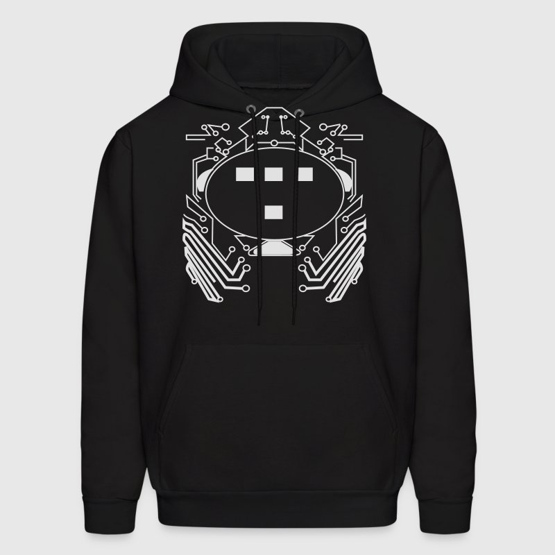 Black Retro 80s Tron Flex Print Design Hoodies - Men's Hoodie