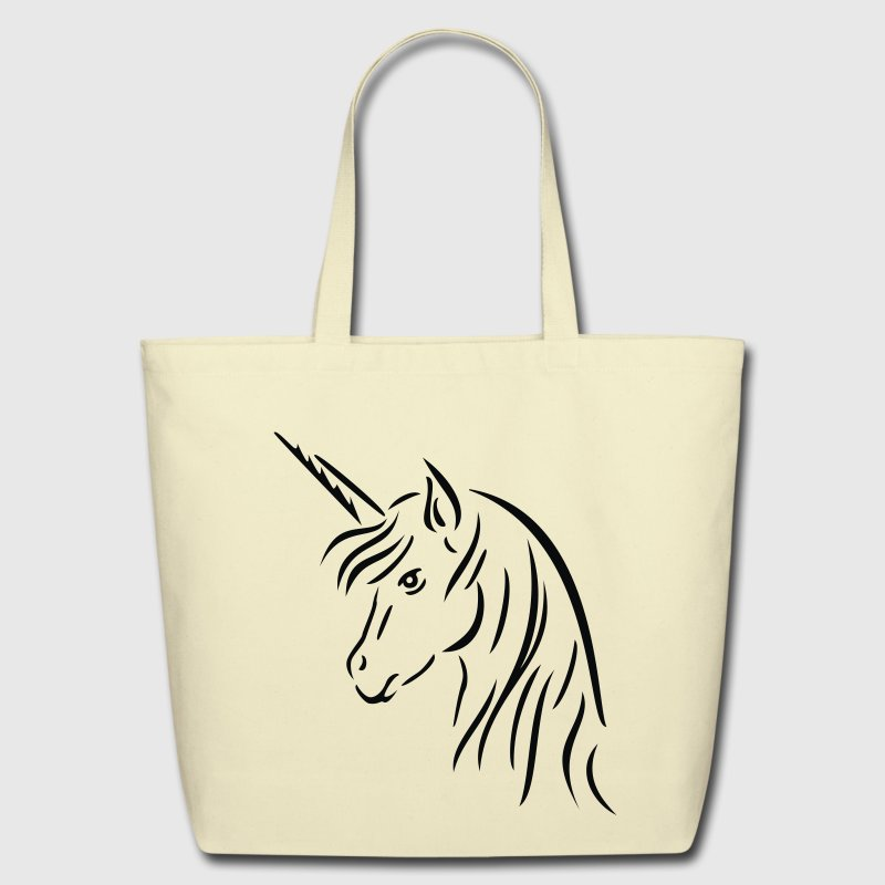 Creme Unicorn Head Bags  - Eco-Friendly Cotton Tote
