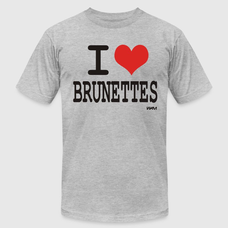 Heather grey i love brunettes by wam T-Shirts - Men's T-Shirt by American Apparel