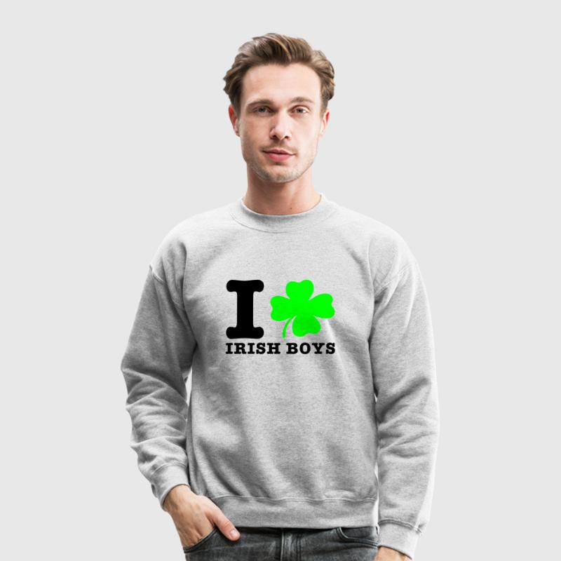 Heather grey i love irish boys Long sleeve shirts - Crewneck Sweatshirt