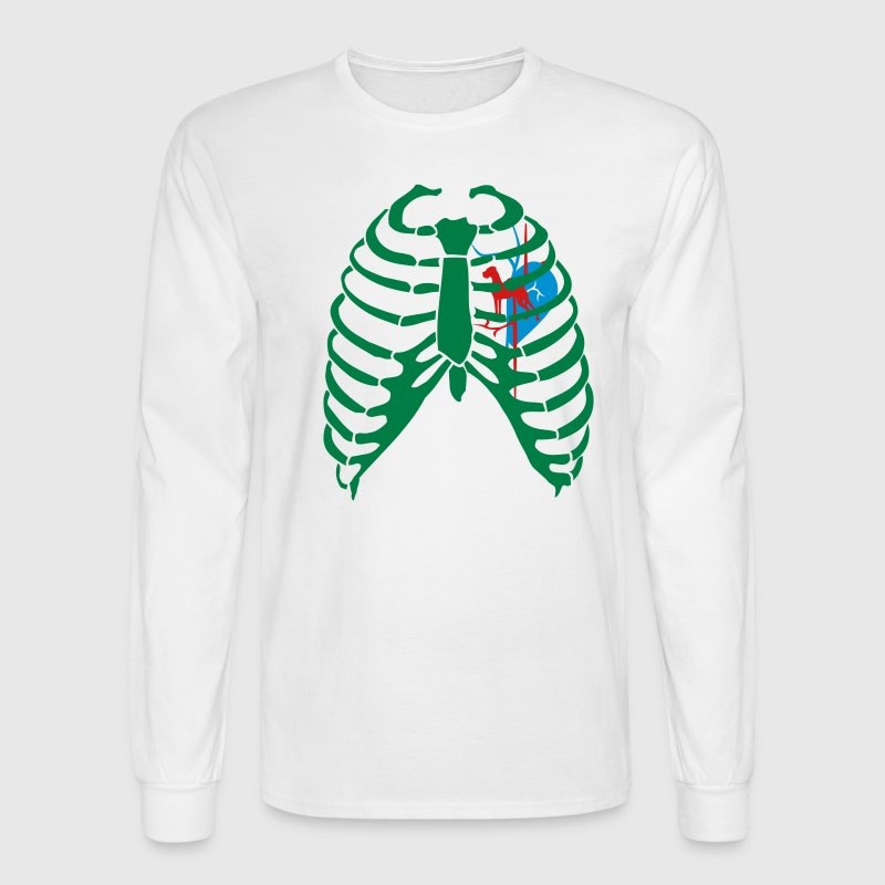 White Great Dane Virus Heart Long Sleeve Shirts - Men's Long Sleeve T-Shirt