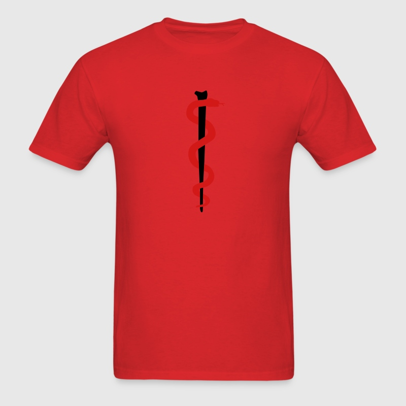 Red Rod of Asclepius - Medical Symbol T-Shirts - Men's T-Shirt