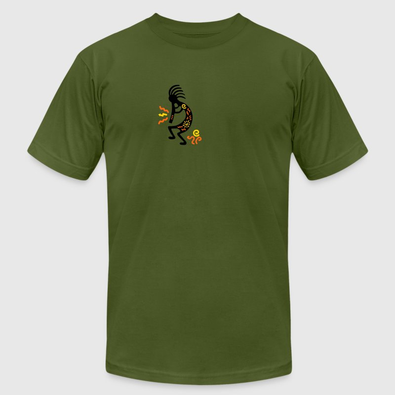 Olive kokopelli_carving_american T-Shirts - Men's T-Shirt by American Apparel