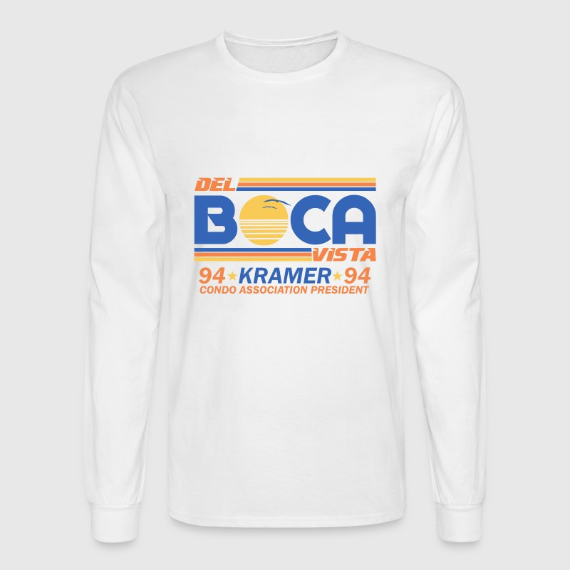 White Seinfeld Del Boca Vista Kramer Long Sleeve Shirts - Men's Long Sleeve T-Shirt