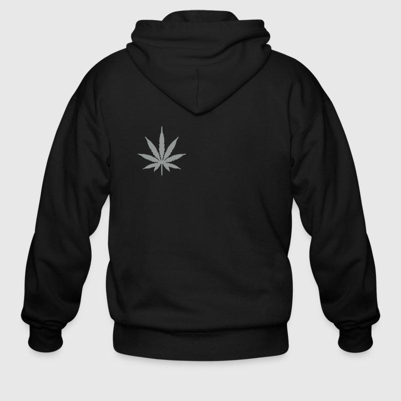 Black Marijuana Zippered Jackets - Men's Zip Hoodie