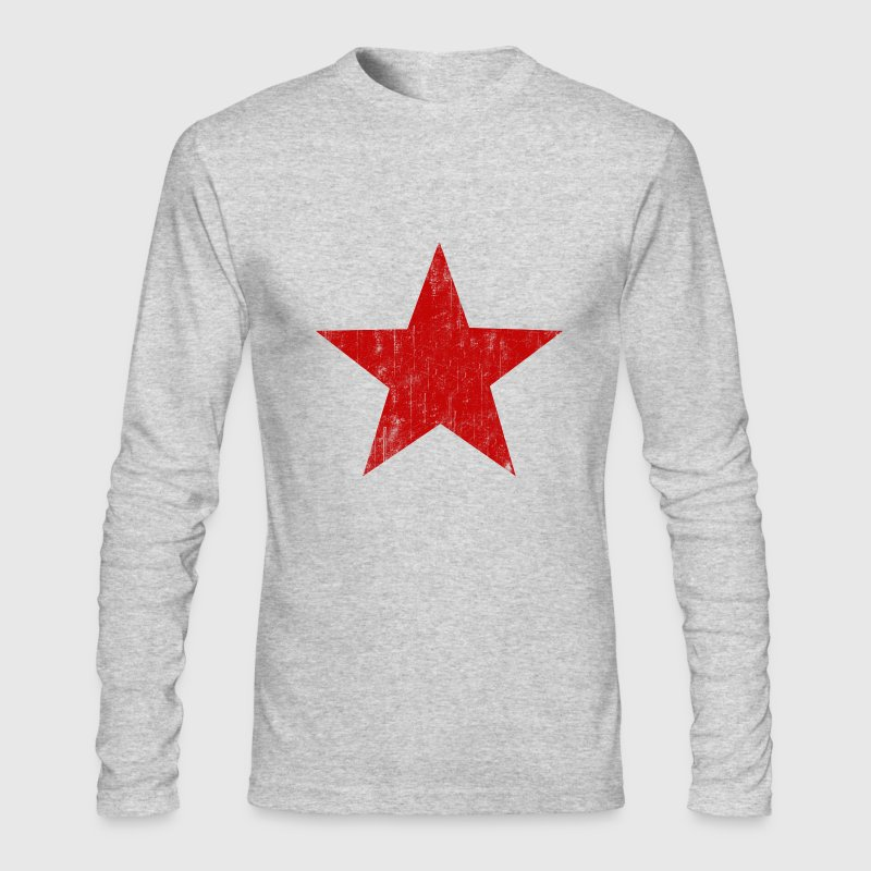 White Red Star faded  Long Sleeve Shirts - Men's Long Sleeve T-Shirt by Next Level