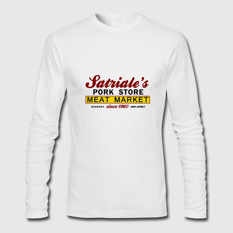 White Sopranos Satriales Pork Store  Long Sleeve Shirts - Men's Long Sleeve T-Shirt by Next Level
