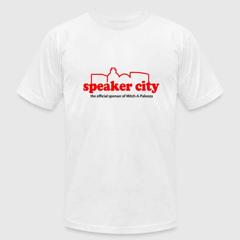 White Old School Speaker City T-Shirts - Men's T-Shirt by American Apparel
