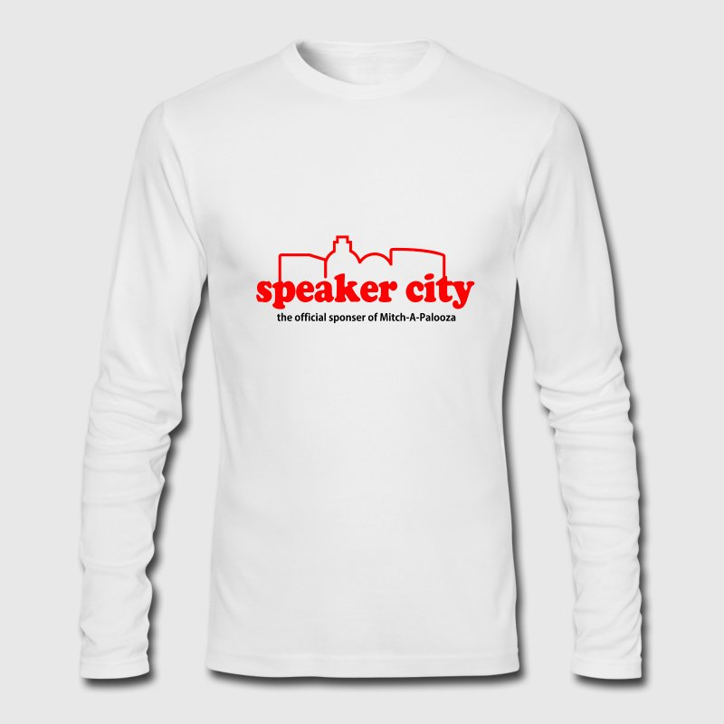 White Old School Speaker City Long Sleeve Shirts - Men's Long Sleeve T-Shirt by Next Level