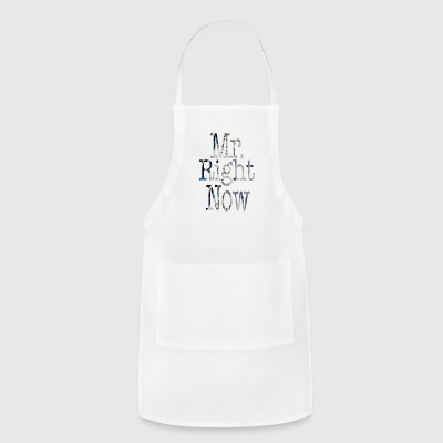 White Mr. Right Now Buttons - Adjustable Apron