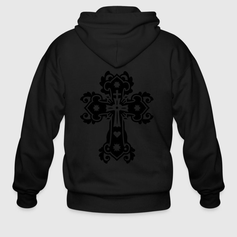 Black flourish gothic cross Zippered Jackets - Men's Zip Hoodie