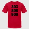 Red 303 808 909 T-Shirts - Men's T-Shirt by American Apparel