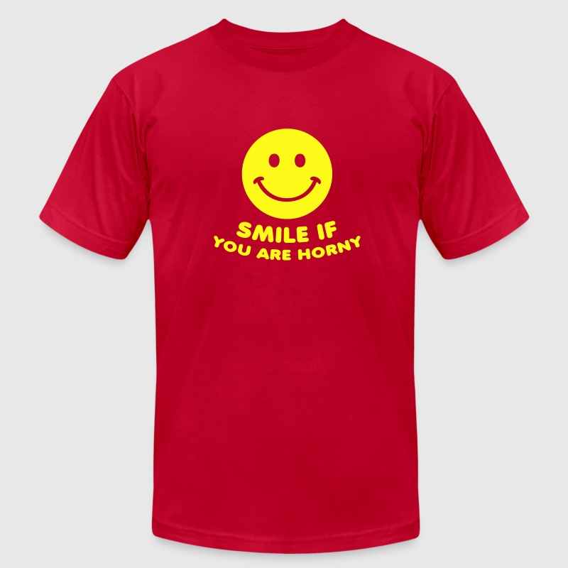 Red smile if you are horny sex porn T-Shirts - Men's T-Shirt by American Apparel