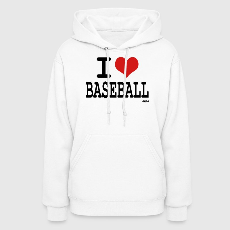White i love baseball by wam Hooded Sweatshirts - Women's Hoodie