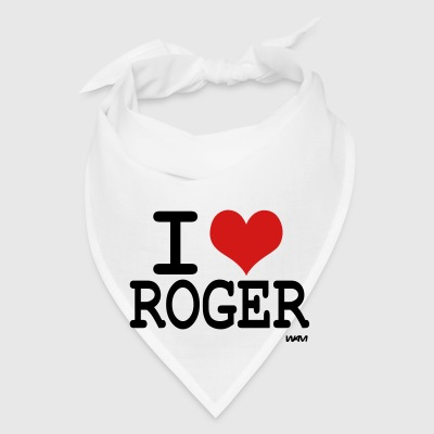 White i love roger Buttons - Bandana