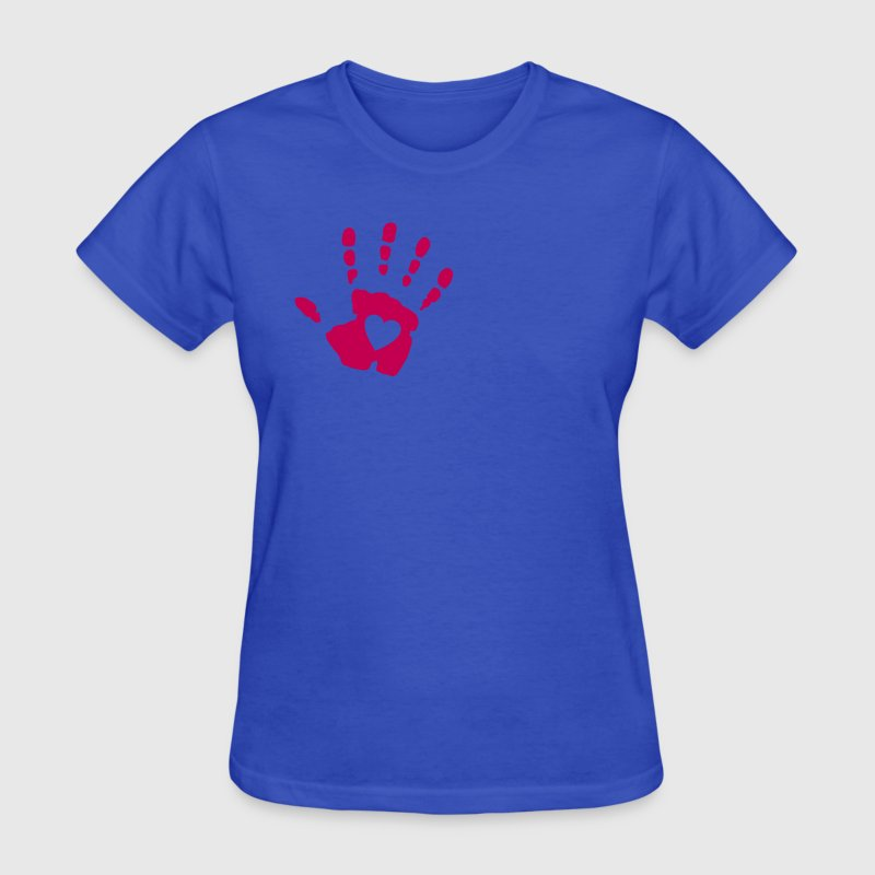 Light blue Heart Hand Print Women's T-Shirts - Women's T-Shirt