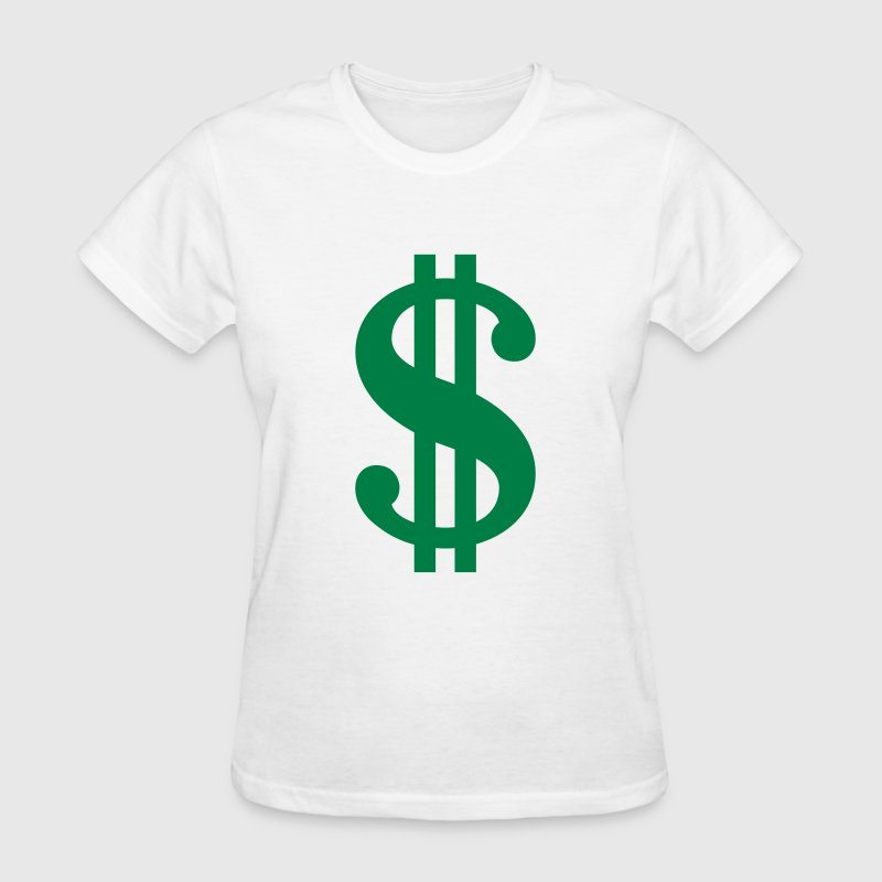 White Dollar Sign Women's T-Shirts - Women's T-Shirt