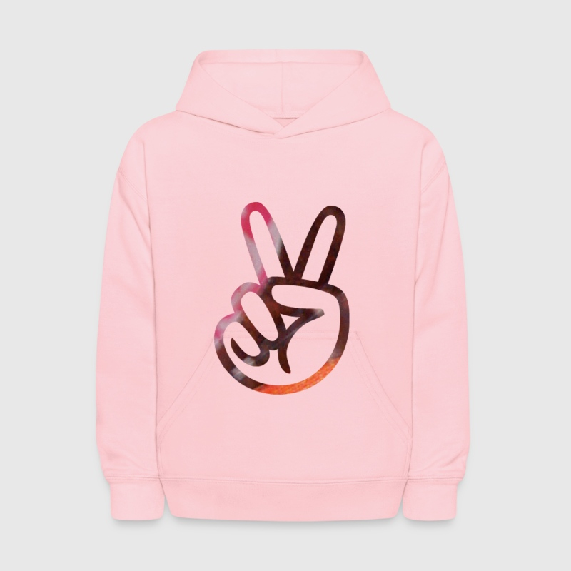 Pink PEACE SIGN FINGERS Sweatshirts - Kids' Hoodie